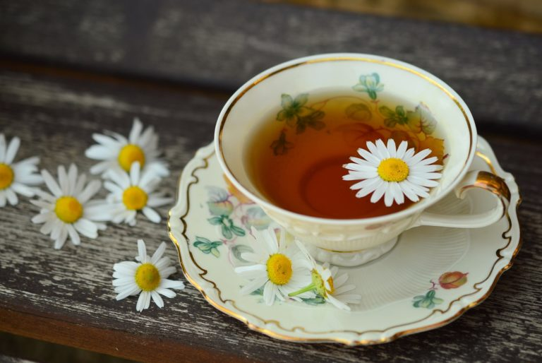 Background Image of Cup of Tea With Flowers